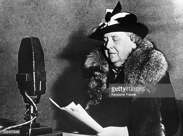 Queen WILHELMINA of Holland giving a radiobroadcasted speech while in exile in London during World War II between 1940 and 1945
