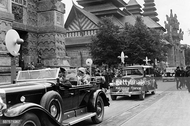 Queen Wilhelmina of the Netherlands and her daughter Princess Juliana visit the Colonial Exhibition by car in June 1931 in Paris France