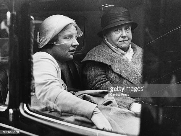 Queen Wilhelmina of the Netherlands and her daughter Princess Juliana arriving for their Scottish holiday in the back of a carriage St Fillens...