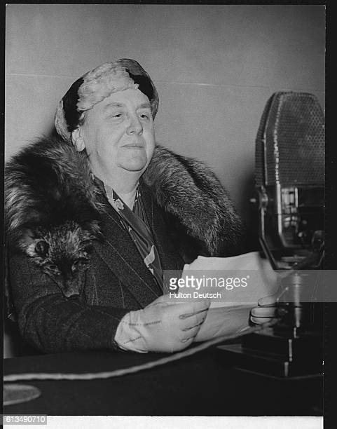 Queen Wilhelmina of the Netherlands broadcasts a message to her people while in exile in London during the Nazi occupation of the Netherlands The...
