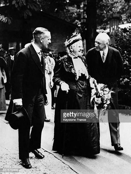 Queen Wilhelmina very rarely photographed goes to the inauguration of an exhibition of roses circa 1950 in Amsterdam Netherlands