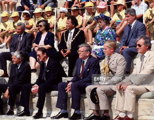 Queen With Her Staff In The Curium Amphitheatre In Cyprus Left To Right Front Row Sir Robert Fellowes Private Secretary 2nd From Left In Dark Suit...