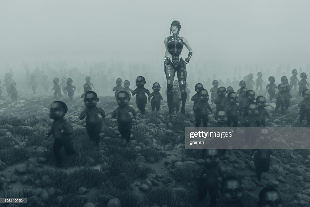 Queen zombie cyborg with walking dead zombie children : Stock Photo