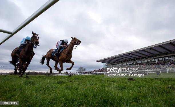 Queenohearts ridden by Ciaran Gethings wins the EBF Stallions/TBA Mares' Standard Open NH Flat Race during Matchbook Imperial Cup Day at Sandown Park...
