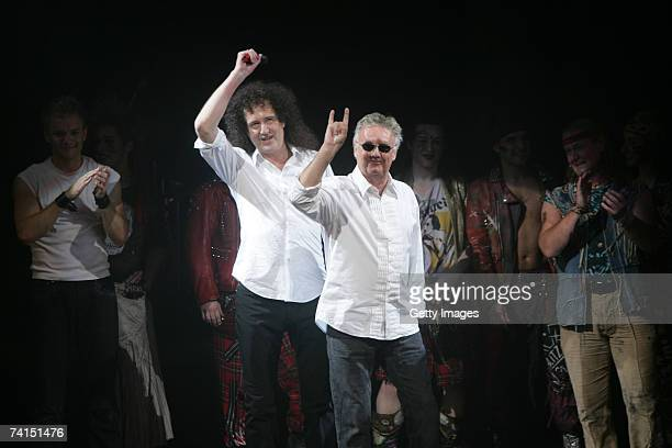 Queen's Brian May and Roger Taylor appear on stage at the Dominion Theatre as Queen and Ben Elton's We Will Rock You musical celebrates its 5th...