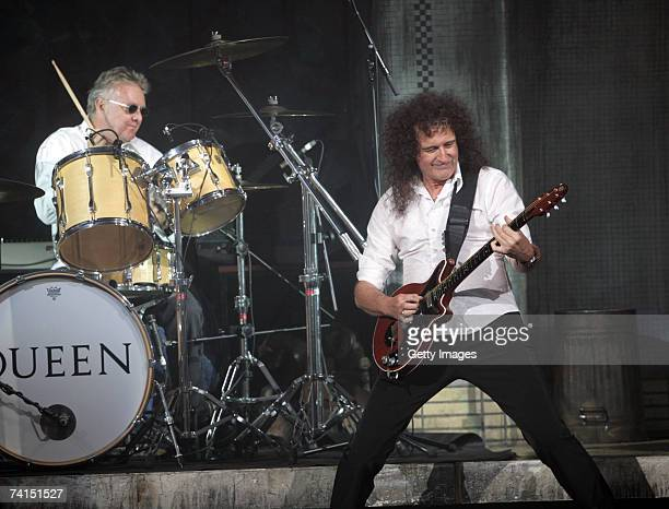 Queen's Brian May and Roger Taylor perform on stage at the Dominion Theatre as Queen and Ben Elton's We Will Rock You musical celebrates its 5th...