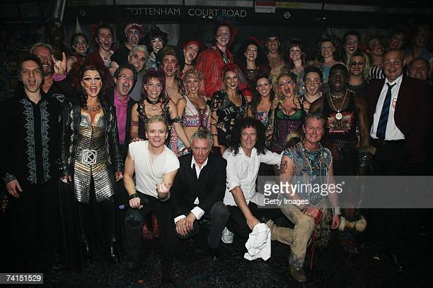 Queen's Brian May and Roger Taylor pose with the cast at the Dominion Theatre as Queen and Ben Elton's We Will Rock You musical celebrates its 5th...