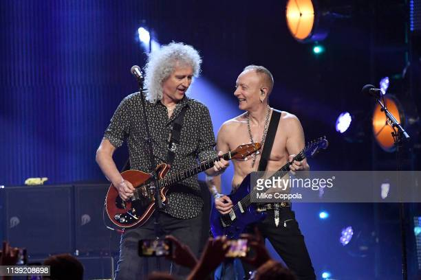 Queen's Brian May performs with Phil Collen of Def Leppard at the 2019 Rock & Roll Hall Of Fame Induction Ceremony - Show at Barclays Center on March...