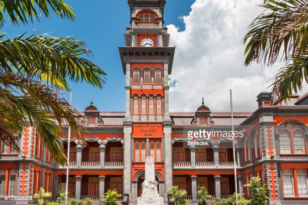 queen's college secondary school in port of spain trinidad and tobago - port of spain stock photos and pictures