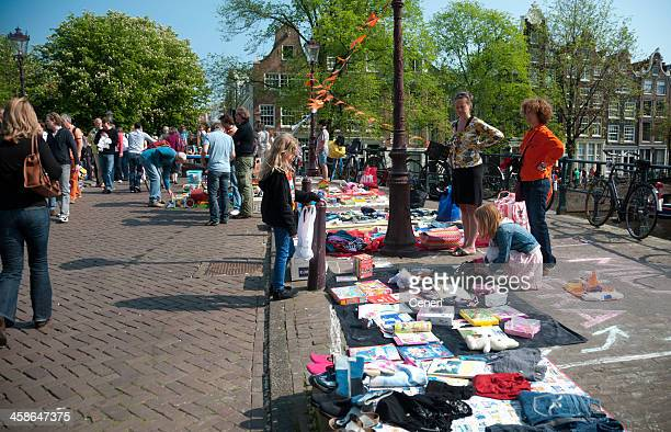 Queen's Day Flea Market on the Streets of Amsterdam