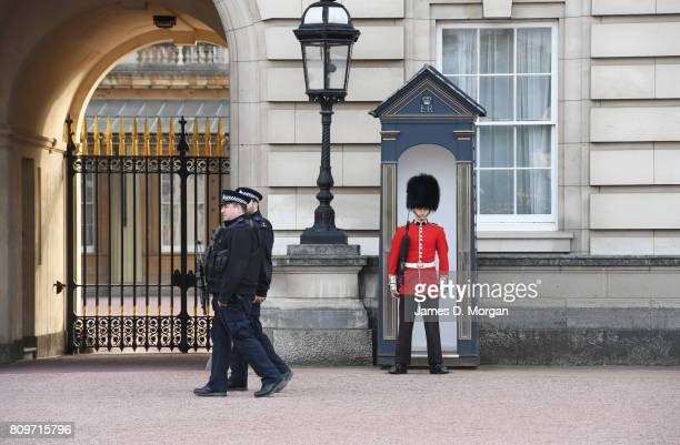 Queens Guard and Metropolitan Police offers securing at entrance on june 5th 2017 in London england