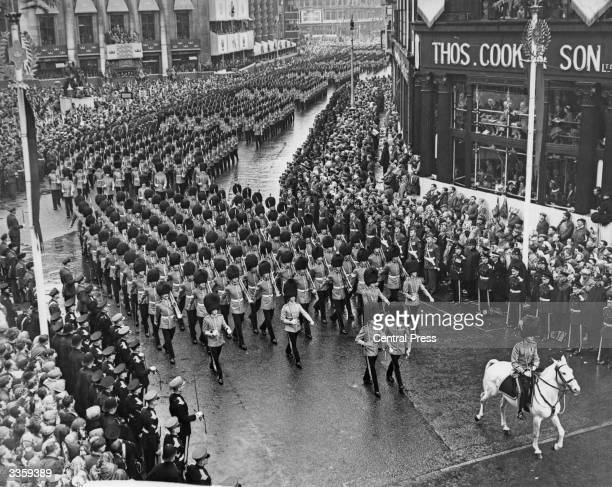 Queen's Guards marching along Pall Mall as part of Queen Elizabeth II's Coronation procession London 2nd June 1953