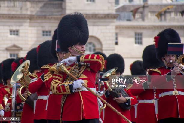 Queen's life Guards are pictured while marching at Horse Guards Parade in London on April 03 2017
