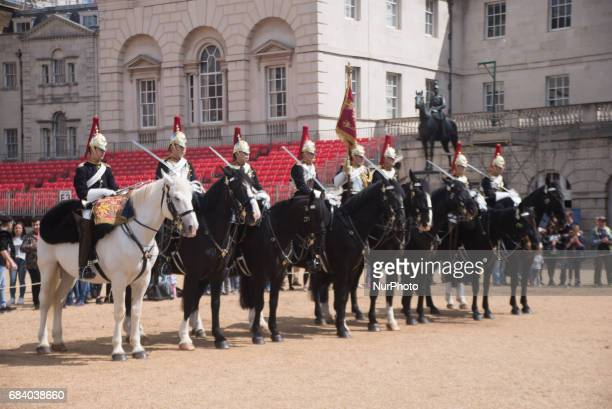 Queen's Life Horse Guards and Police security are pictured at Horse Guards Parade, London, May 16, 2017.