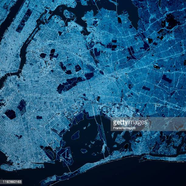 queens new york 3d render map blue top view apr 2019 - frank ramspott stock pictures, royalty-free photos & images