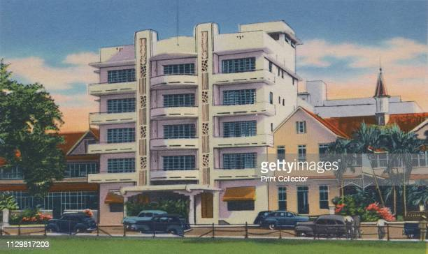 """Queen's Park Hotel, Port of Spain, Trinidad, B.W.I.', circa 1940s. From """"Trinidad - British West Indies, Land of the Humming Bird"""". [Tichnor Quality..."""