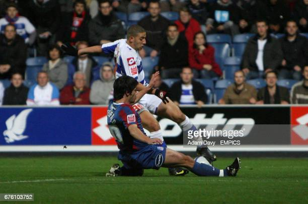 Queens Park Rangers' Adel Taarabt is fouled by Crystal Palace's Danny Butterfield to get a penalty