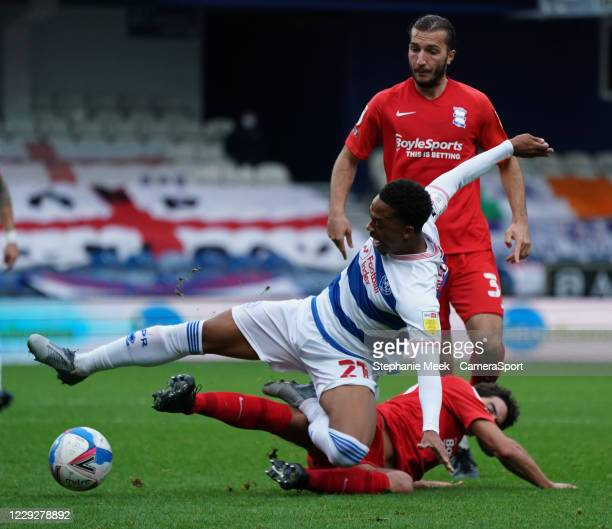 Queens Park Rangers' Chris Willock is tackled by Birmingham City's Mikel San Jose during the Sky Bet Championship match between Queens Park Rangers...