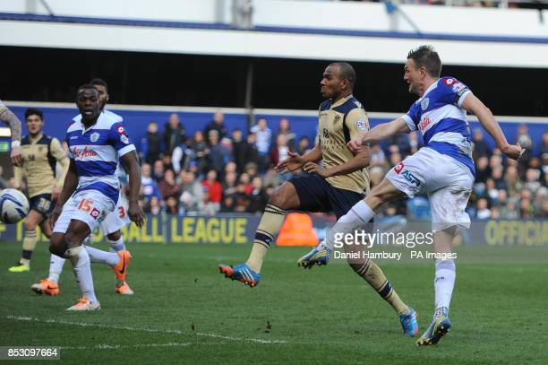 Queens Park Rangers' Clint Hill thinks he has won the game with this late strike only to see it ruled off side during the Sky Bet Championship match...