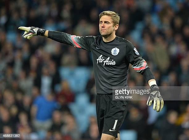 Queens Park Rangers' English goalkeeper Robert Green gestures during the English Premier League football match between Aston Villa and Queens Park...