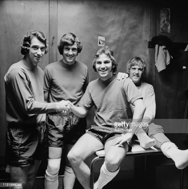 Queens Park Rangers FC soccer players Don Givens, Dave Clement , Gerry Francis, and Phil Parkes, UK, 21st August 1975.