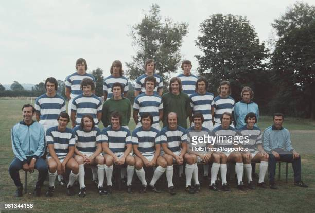 Queens Park Rangers FC team squad posed together on the pitch at the club's training ground in London during the 197172 season in 1972 The team are...