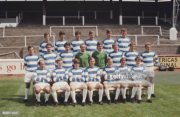 Queens Park Rangers Football Club squad posed together on the pitch at Rangers' Loftus Road stadium in London on 19th July 1968 prior to the start of...