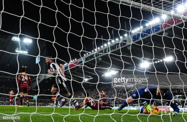 Queens Park Rangers Goalkeeper Alex Smithies holds the ball in goal after Matt Ritchie scores Newcastle's second goal during the Sky Bet Championship...