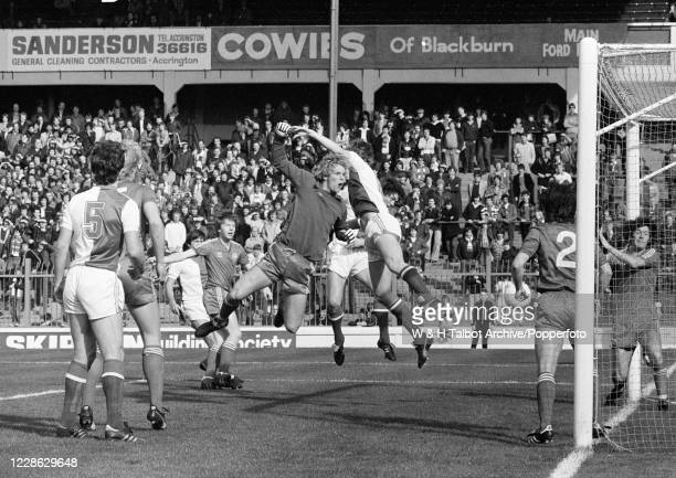 Queens Park Rangers goalkeeper Chris Woods concedes a goal during the Football League Division Two match between Blackburn Rovers and Queens Park...