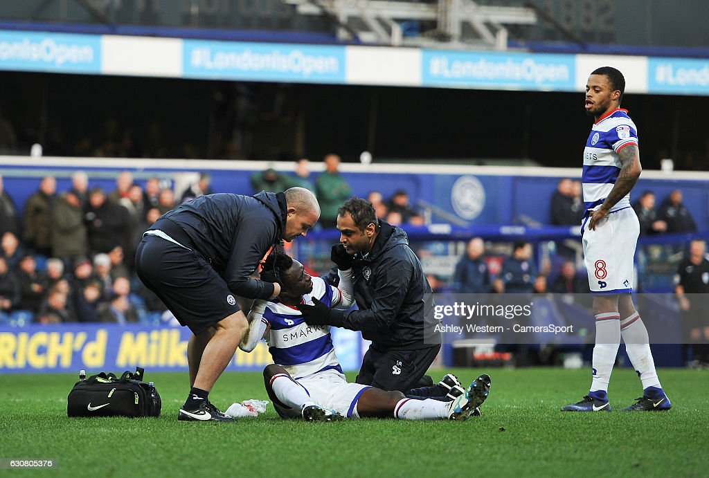 Queens Park Rangers' Idrissa Sylla injured during the Sky Bet Championship match between Queens Park Rangers and Ipswich Town at Loftus Road on January 2, 2017 in London, England.