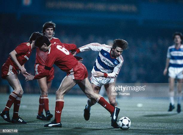 Queens Park Rangers John Byrne evades Liverpool defender Alan Hansen during their Milk Cup SemiFinal 1st leg at Loftus Road 12th February 1986 QPR...