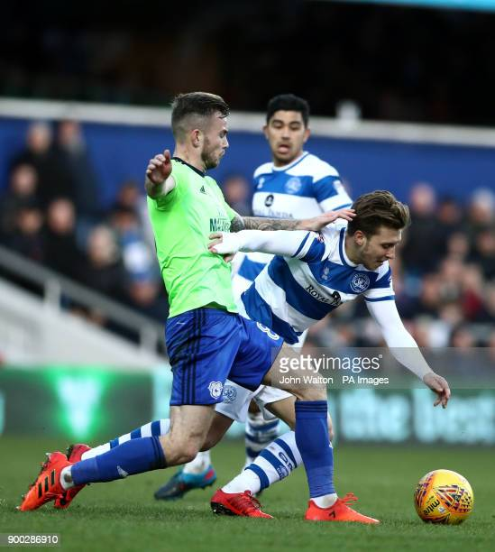 Queens Park Rangers' Luke Freeman battles for possession of the ball with Cardiff City's Callum Paterson during day eleven of the William Hill World...