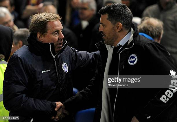 Queens Park Rangers manager Harry Redknapp chats with Brighton Hove manager Oscar Garcia before the Sky Bet Championship match between Brighton Hove...