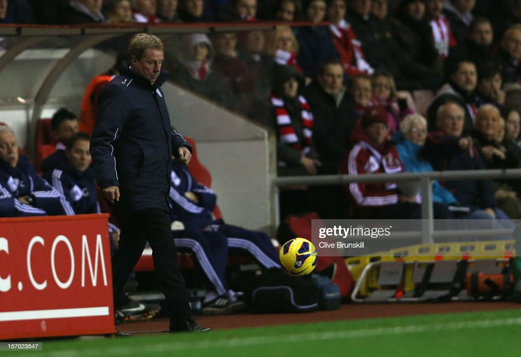 Queens Park Rangers manager Harry Redknapp shows his frustration as he kicks the ball during his first game in charge during the Barclays Premier League match between Sunderland and Queens Park Rangers at the Stadium of Light on November 27, 2012, in Sunderland, England.