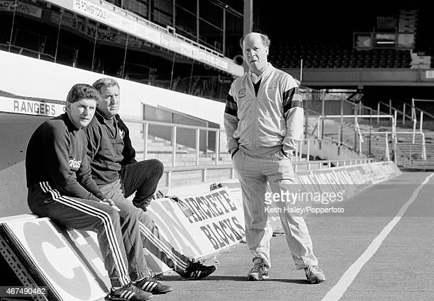 Queens Park Rangers manager Jim Smith with his assistants Bobby Campbell and Frank Sibley at Loftus Road in London circa 1986