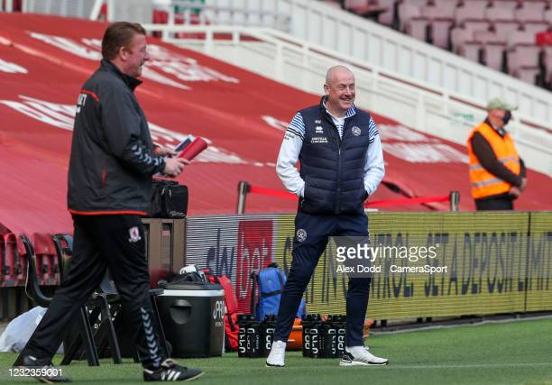 Queens Park Rangers manager Mark Warburton celebrates his sides opening goal during the Sky Bet Championship match between Middlesbrough and Queens...