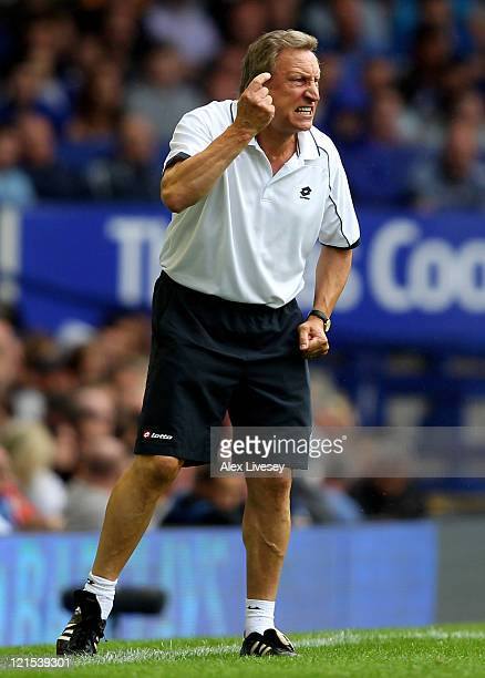 Queens Park Rangers Manager Neil Warnock reacts during the Barclays Premier League match between Everton and Queens Park Rangers at Goodison Park on...