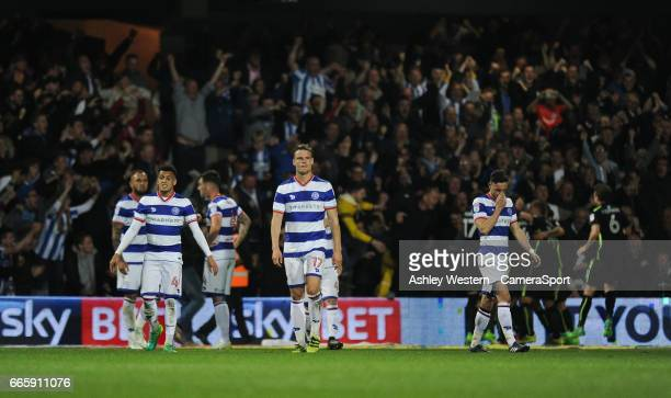 Queens Park Rangers' Matt Smith dejected as Brighton Hove Albion's Sebastien Pocognoli scores his sides second goal during the Sky Bet Championship...