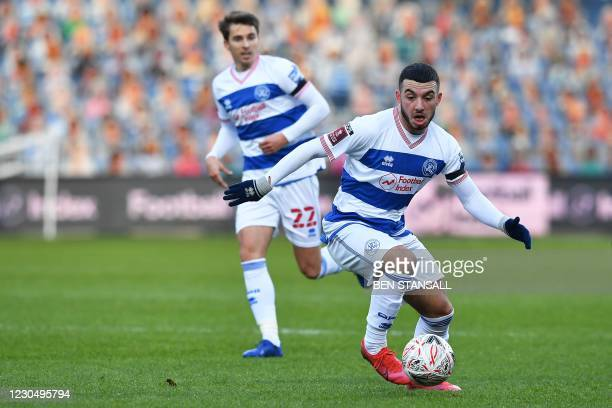 Queens Park Rangers' Moroccan midfielder Ilias Chair on the ball during the English FA Cup third round football match between Queens Park Rangers and...