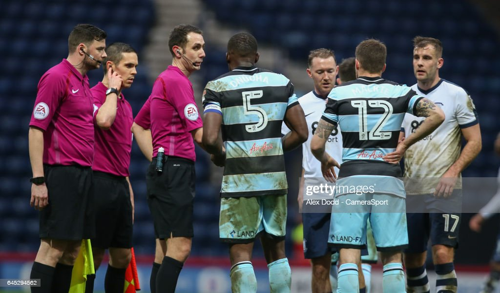 Queens Park Rangers' Nedum Onuoha asks questions of referee David Coote after the match during the Sky Bet Championship match between Preston North End and Queens Park Rangers at Deepdale on February 25, 2017 in Preston, England.