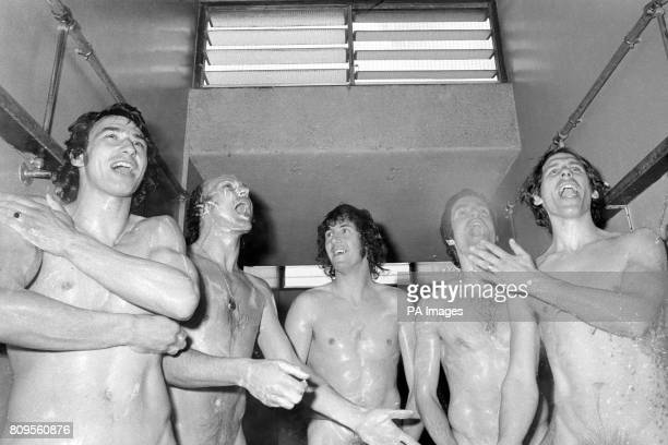 Queens Park Rangers players practice their singing in the showers after a training session The team are making their first Decca single disc...