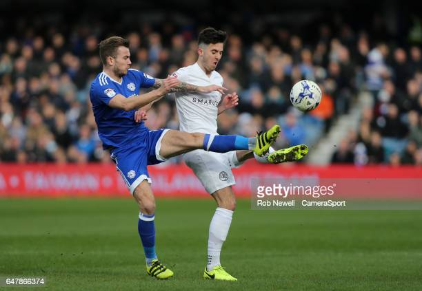 Queens Park Rangers' Sean Goss and Cardiff City's Aron Gunnarsson during the Sky Bet Championship match between Queens Park Rangers and Cardiff City...