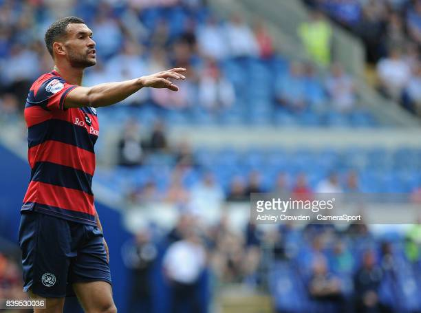 Queens Park Rangers' Steven Caulker shouts instructions during the Sky Bet Championship match between Cardiff City and Queens Park Rangers at Cardiff...