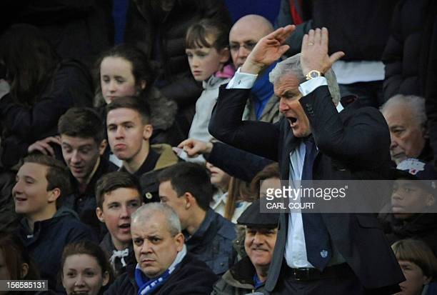 Queens Park Rangers' Welsh manager Mark Hughes gestures during the English Premier League football match between Queens Park Rangers and Southampton...