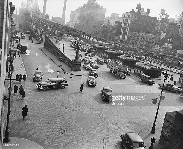Pedestrian Danger Spot On 2nd avenue Of Queensborough Bridge Elevation shot showing pedestrians attempting to cross Second Avenue from north east...