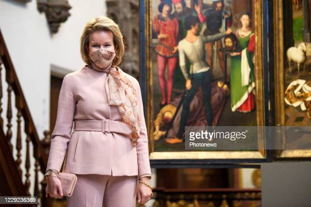 Queen's visit to the exhibition Memling Now, Hans Memling in contemporary art at the Sint-Janshospitaal in Bruges on October 23, 2020 in Bruges,...
