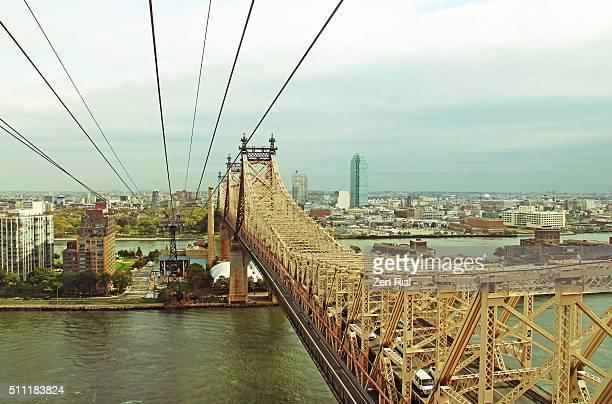 Queensboro Bridge over East River and Roosevelt Island in New York City