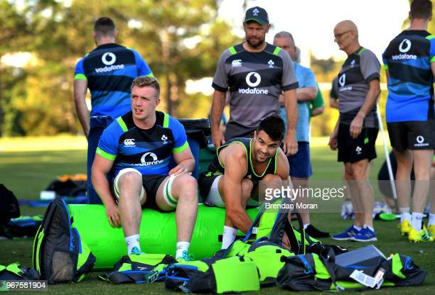Queensland Australia 5 June 2018 Dan Leavy left and Conor Murray prepare for Ireland rugby squad training at Royal Pines Resort in Queensland...