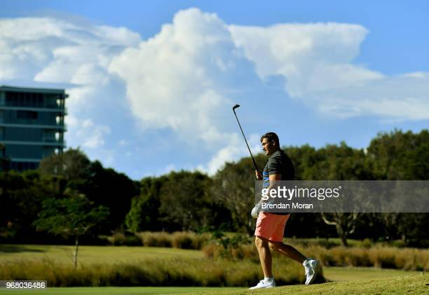 Queensland Australia 6 June 2018 Jordan Larmour during a round of golf on the Ireland rugby squad down day at Lakelands Golf Club on the Gold Coast...
