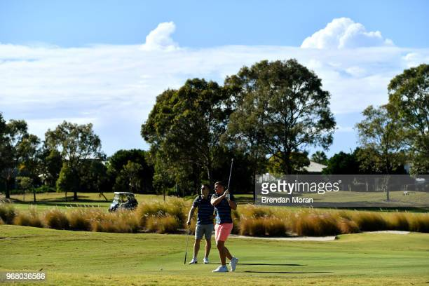 Queensland Australia 6 June 2018 Jordan Larmour right and Andrew Conway during a round of golf on the Ireland rugby squad down day at Lakelands Golf...